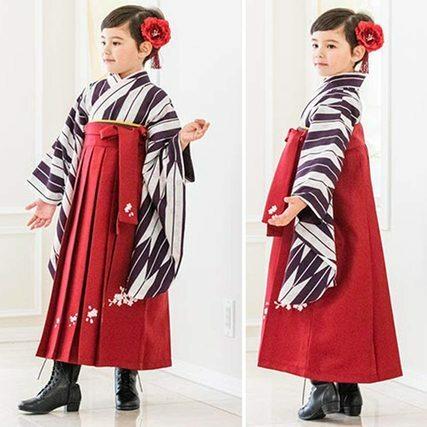 矢絣着物×えんじ袴 卒園式和装セット