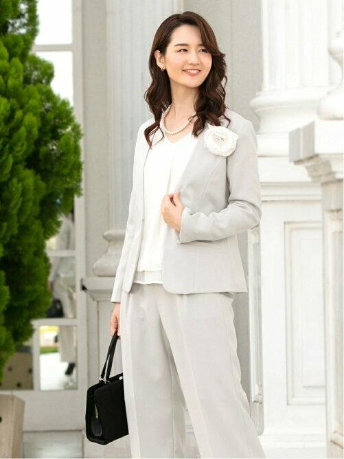 カラーレスジャケット+ワイドパンツ2点セットスーツ