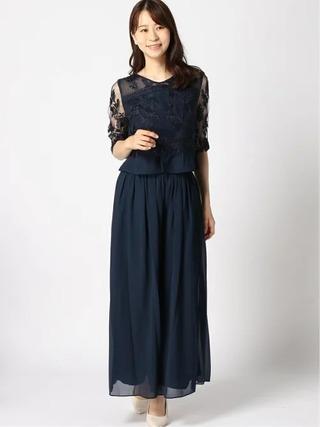7分袖ブラウス+ワイドパンツドレス