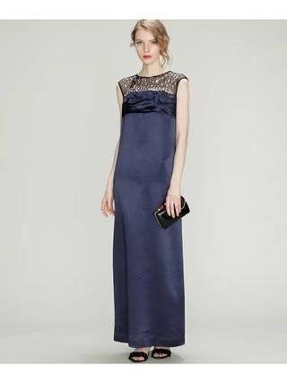 サテンロングドレス