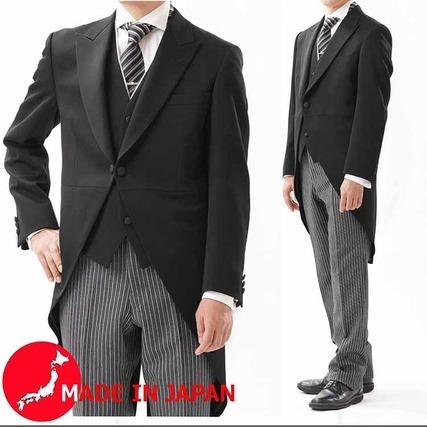 国産最高級ミユキ毛織のモーニングコート&白えり付きベスト+Supertexのパンツ付き3P