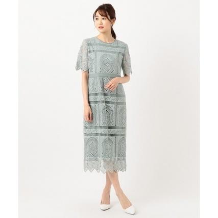 パネル柄レースタイトドレス