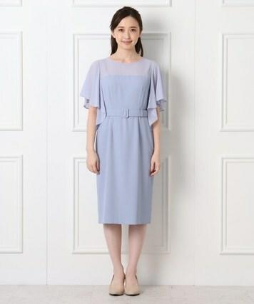 シフォンベルテッドドレス