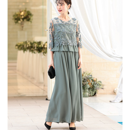 刺繍レース切り替えセットアップパンツドレス