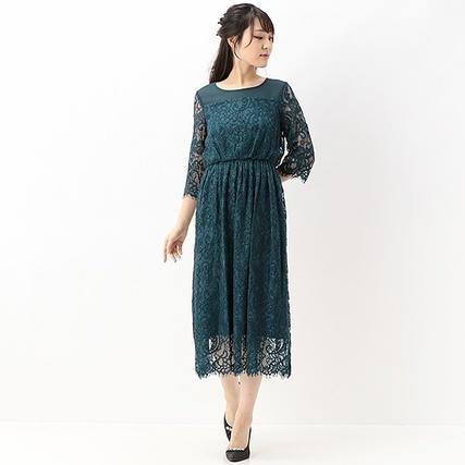 レースミディ袖付きドレス