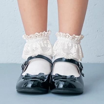 レースリボン靴下2色セット