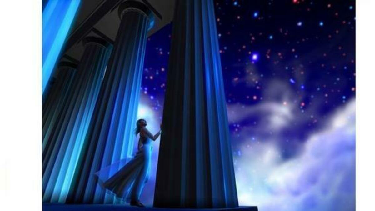 神殿の柱と人