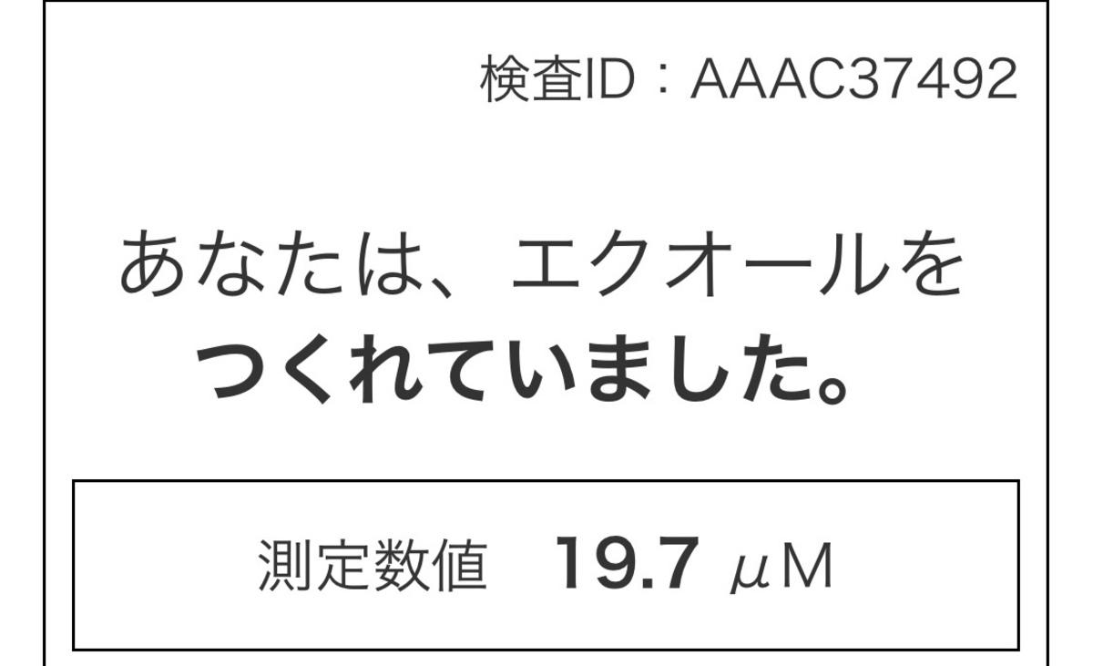 検査結果「あなたは、エクオールをつくれていました。測定数値 19.7 μM」